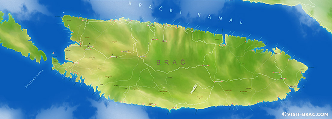 Map of Island Brač